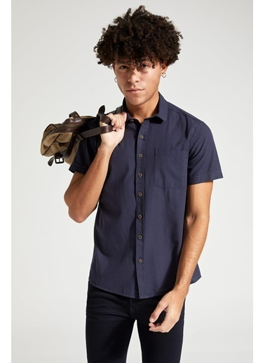 DeFacto Slim Fit Basic Kısa Kollu Gömlek Lacivert